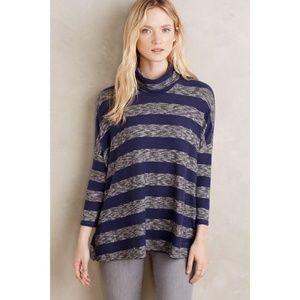 Anthropologie Postmark Stripe Swing Tunic Sweater